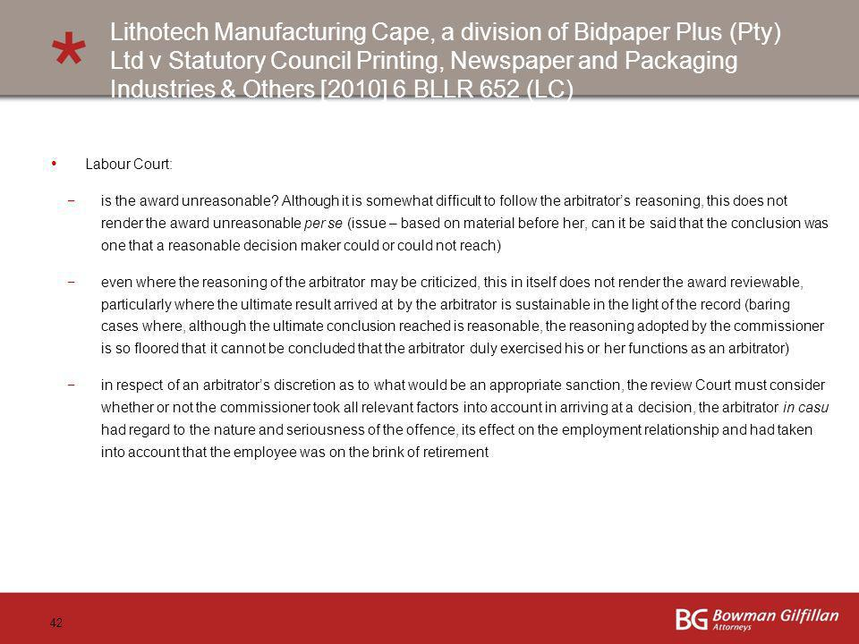 Lithotech Manufacturing Cape, a division of Bidpaper Plus (Pty) Ltd v Statutory Council Printing, Newspaper and Packaging Industries & Others [2010] 6 BLLR 652 (LC)